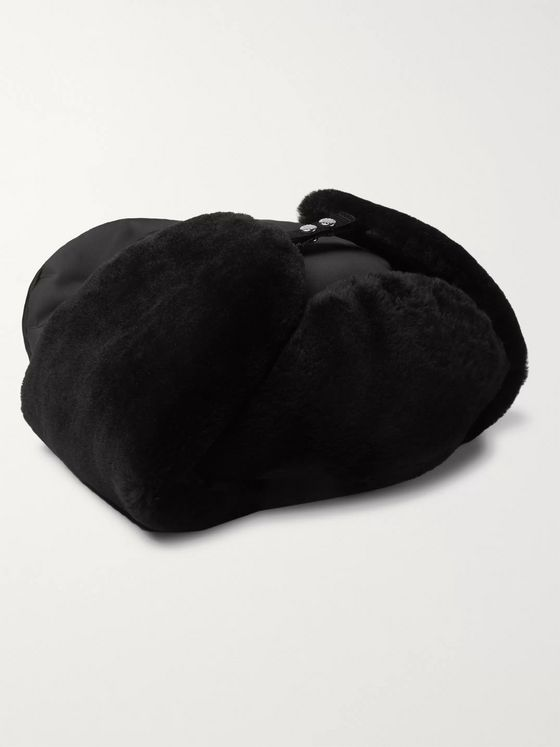 Prada Logo-Embellished Shearling-Lined Nylon Trapper Hat