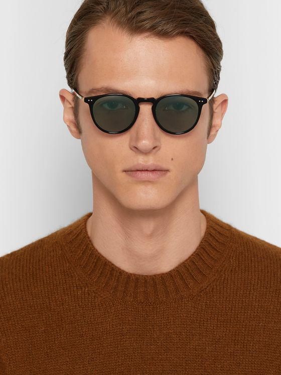 GARRETT LEIGHT CALIFORNIA OPTICAL Ocean 46 Round-Frame Acetate Sunglasses