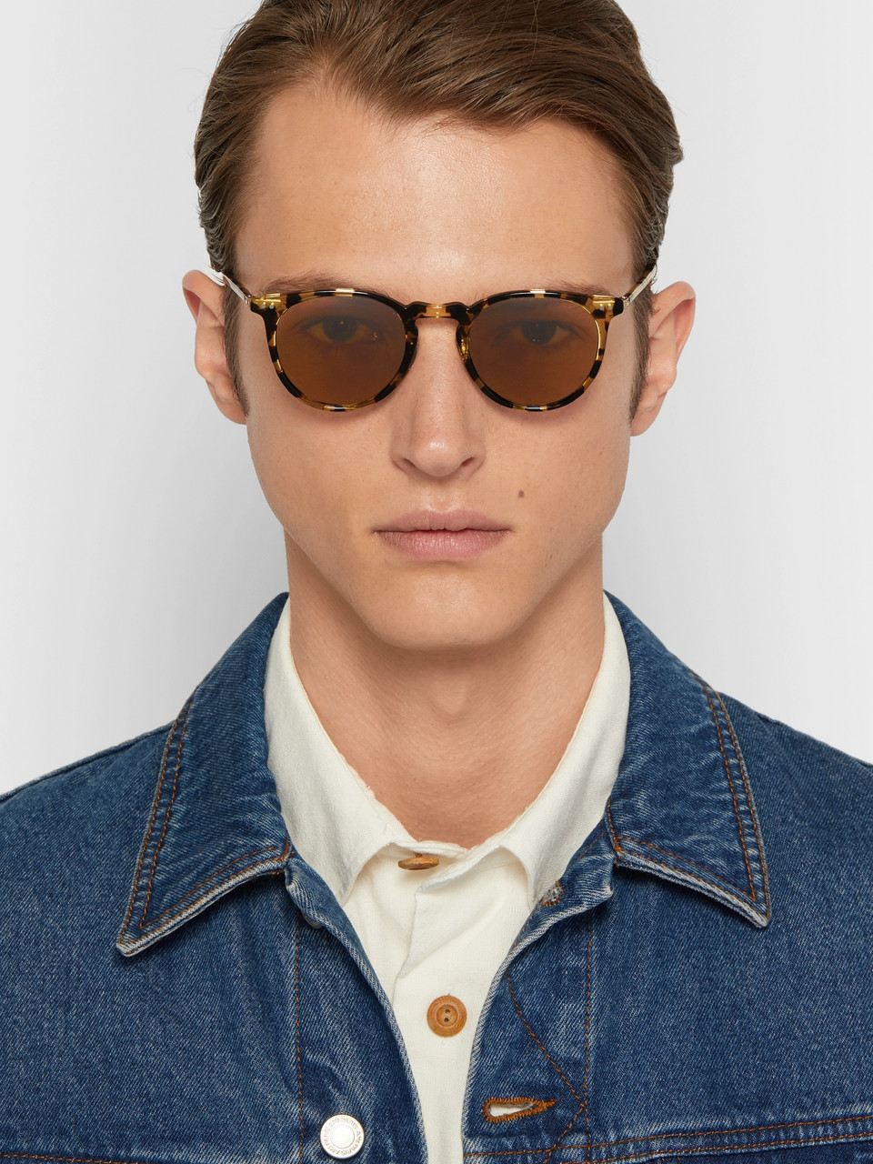 Garrett Leight California Optical Ocean 46 Round-Frame Tortoiseshell Acetate Sunglasses