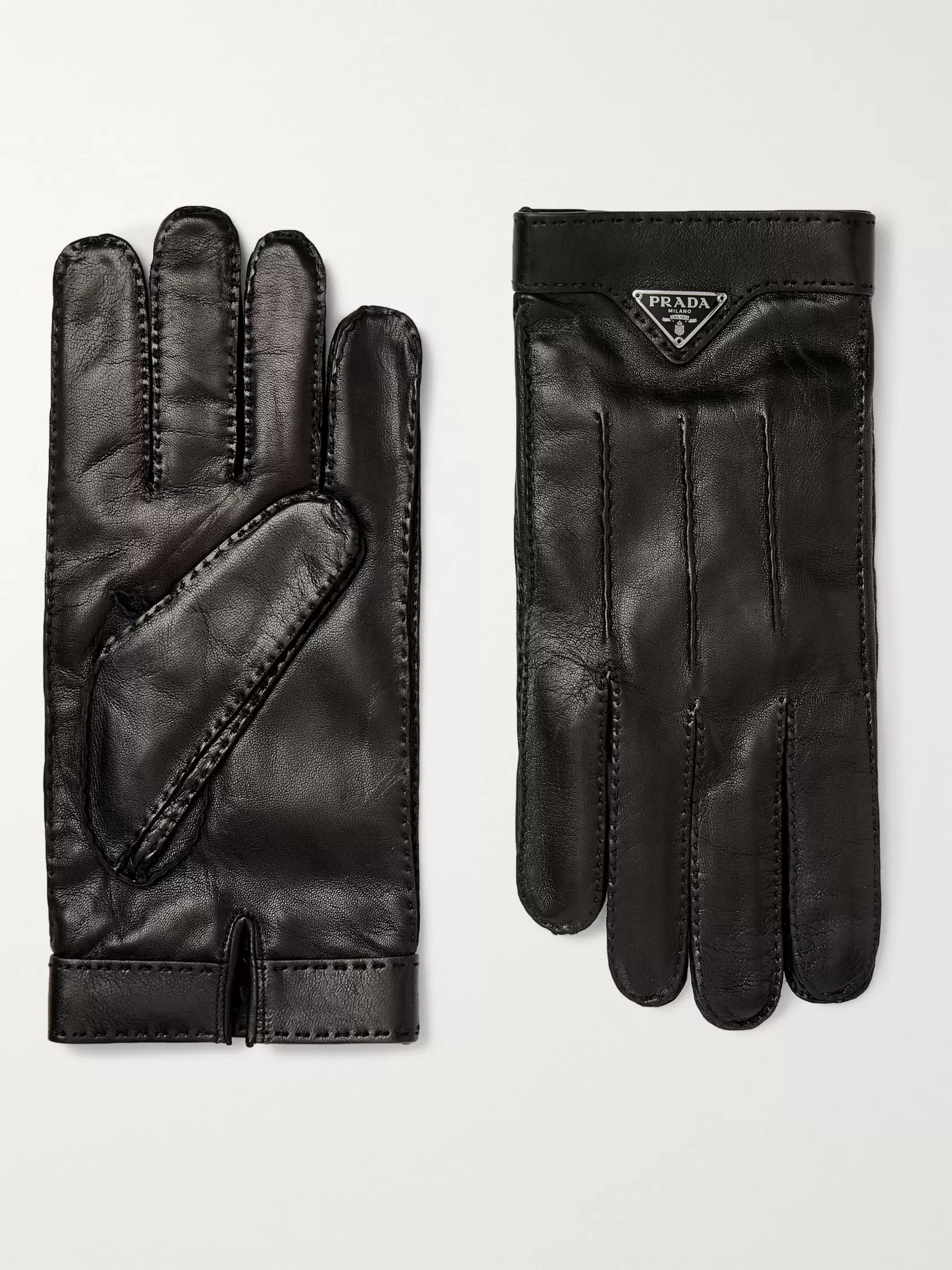 Logo Embellished Cashmere Lined Leather Gloves by Prada