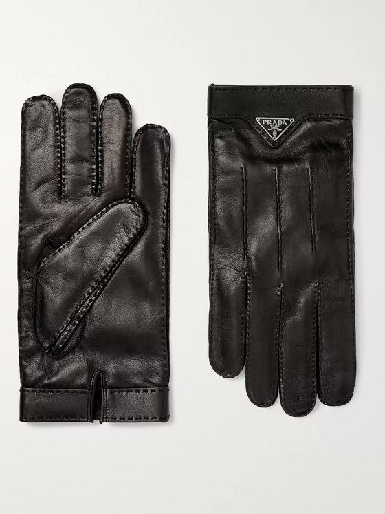 Prada Logo-Embellished Cashmere-Lined Leather Gloves