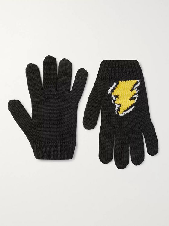 Prada Intarsia Virgin Wool Gloves