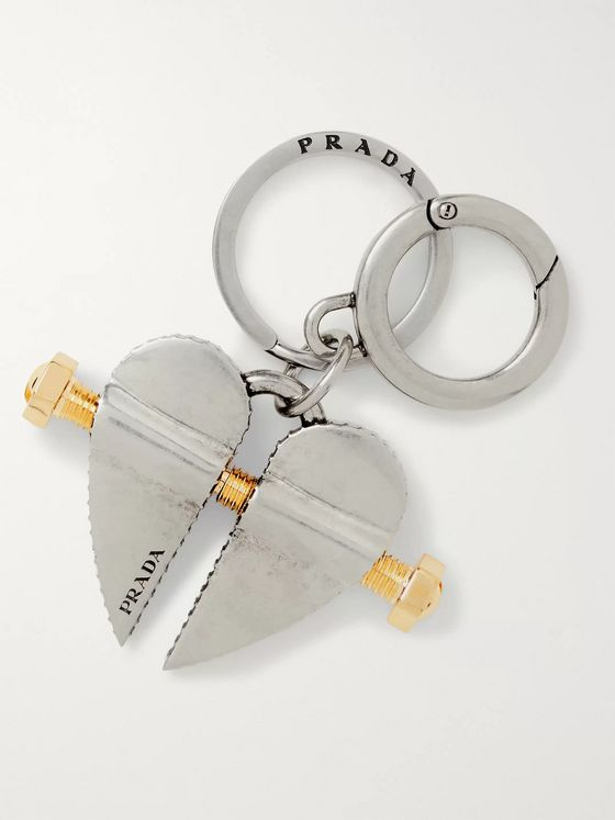 Prada Gold-Tone and Steel Key Ring