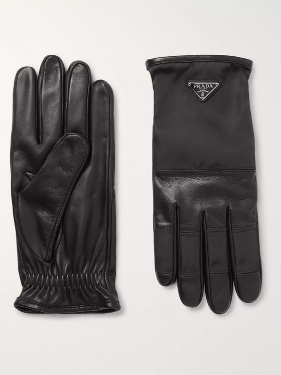 Prada Logo-Detailed Cashmere-Lined Leather and Nylon Gloves