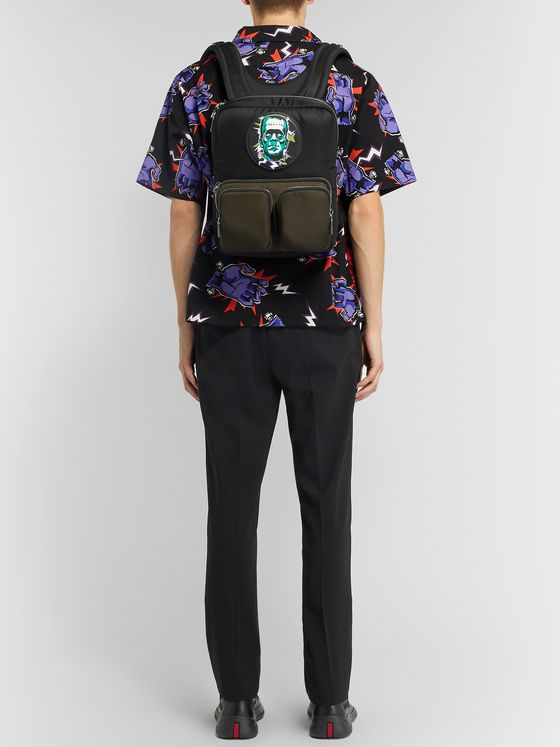 Prada + Universal Printed Leather-Trimmed Nylon Backpack