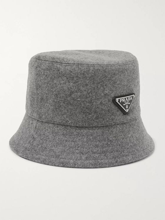 Prada Logo-Appliquéd Wool-Felt Bucket Hat