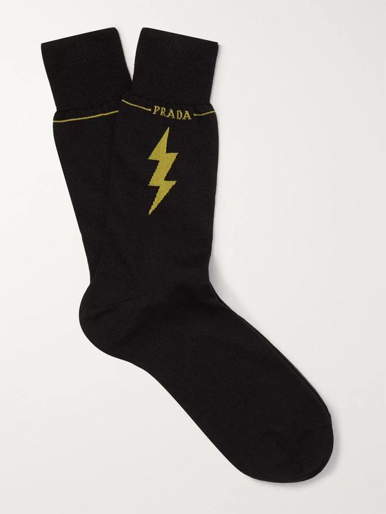 Prada Logo-Intarsia Virgin Wool-Blend Socks