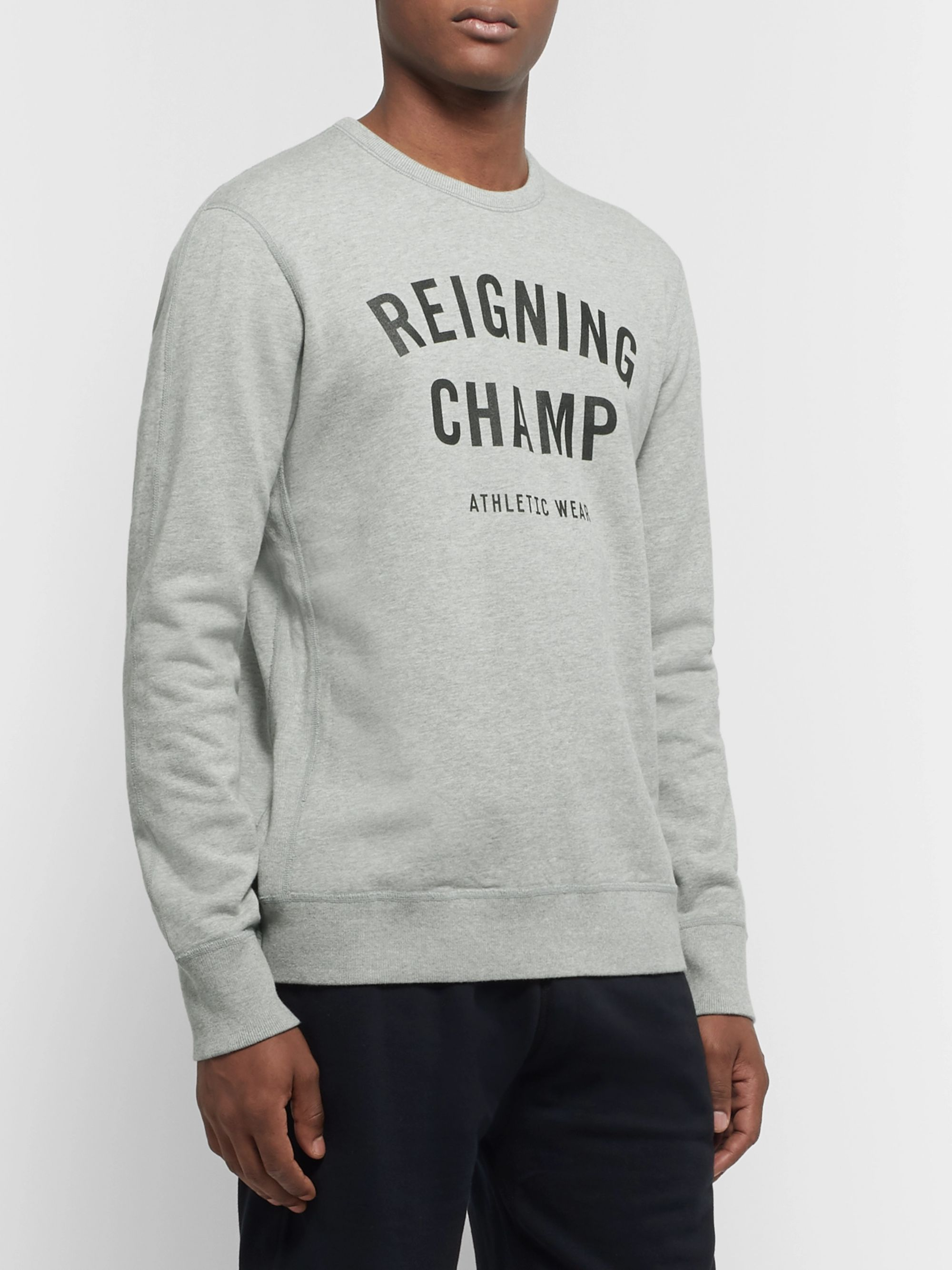 Reigning Champ Slim-Fit Logo-Print Mélange Loopback Cotton-Jersey Sweatshirt