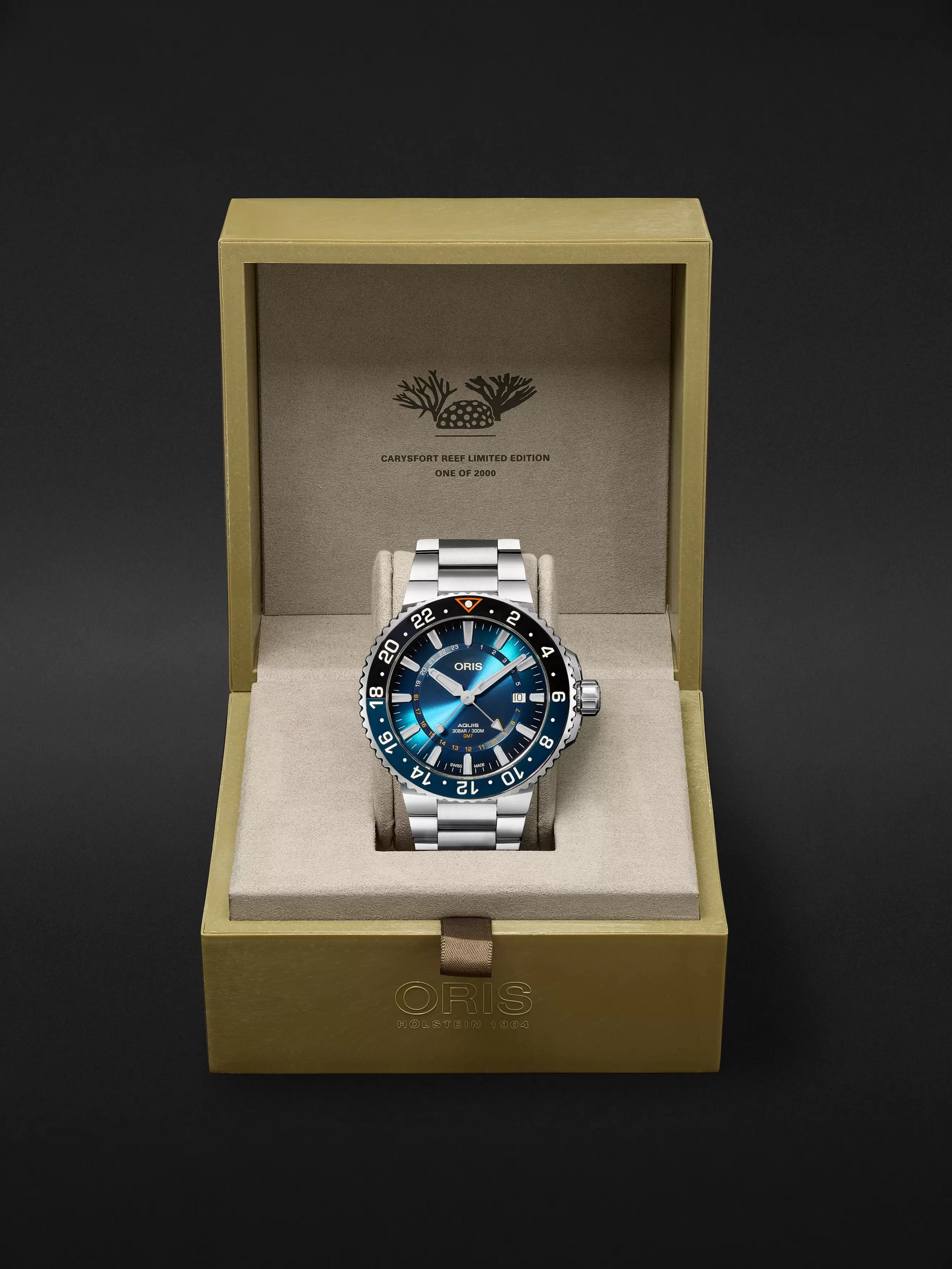 ORIS Aquis Carysfort Reef Limited Edition Automatic 43.5mm Stainless Steel Watch, Ref. No. 01 798 7754 4185-Set MB