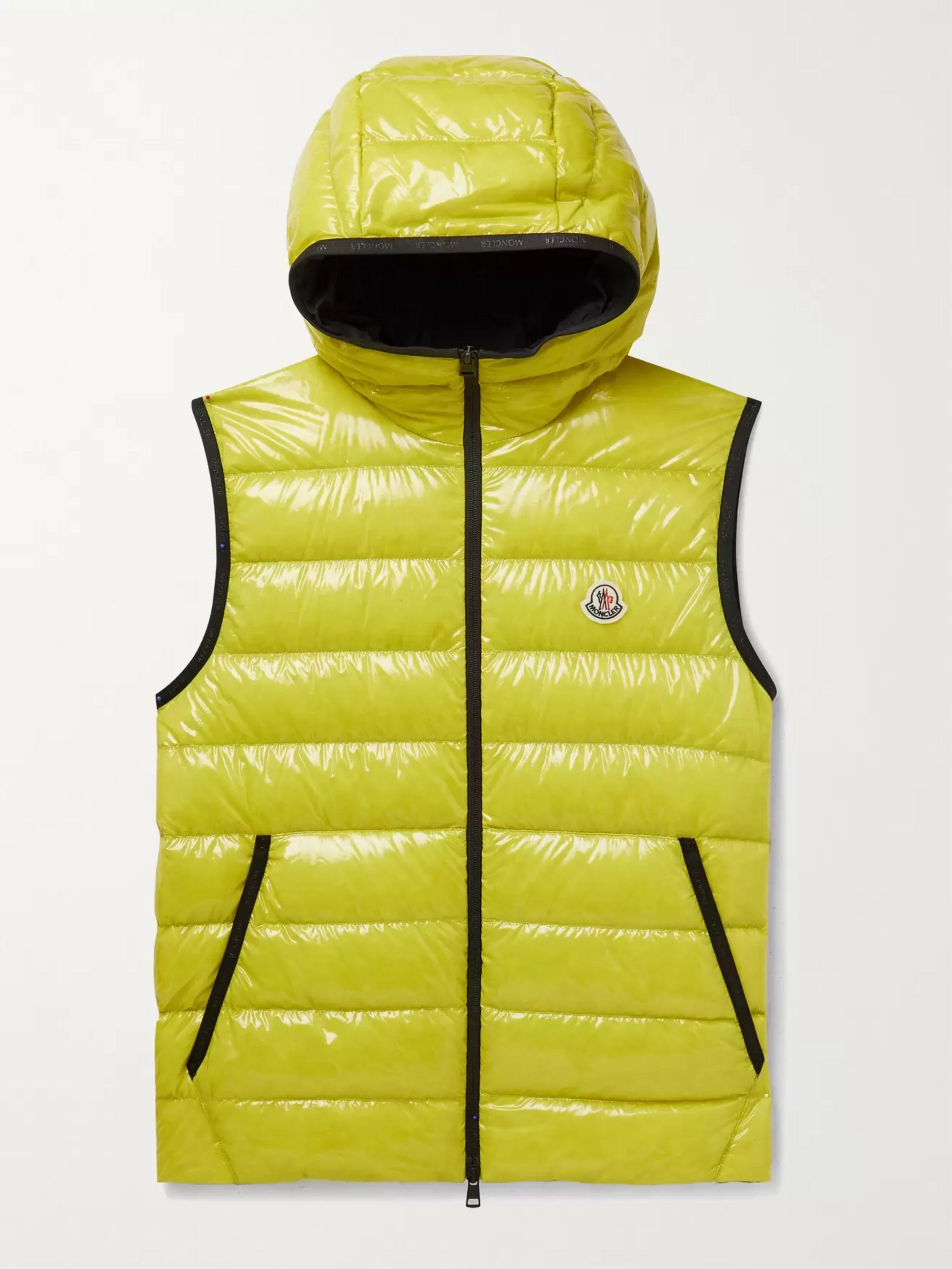 MONCLER Lappe Logo-Appliquéd Quilted Glossed-Ripstop Hooded Down Gilet