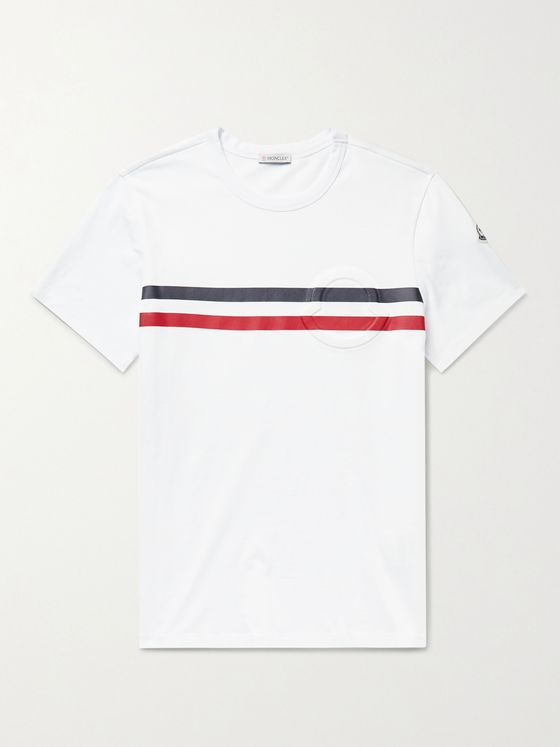 MONCLER Logo-Embossed Striped Cotton-Jersey T-Shirt