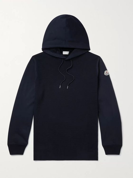 MONCLER Logo-Appliquéd Panelled Fleece-Back Cotton-Jersey Hoodie