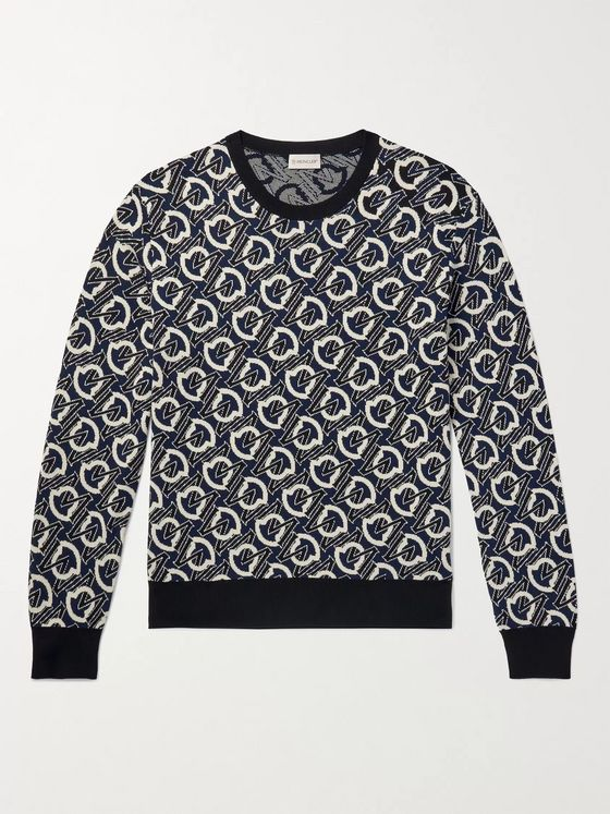 MONCLER Logo-Jacquard Cotton Sweater