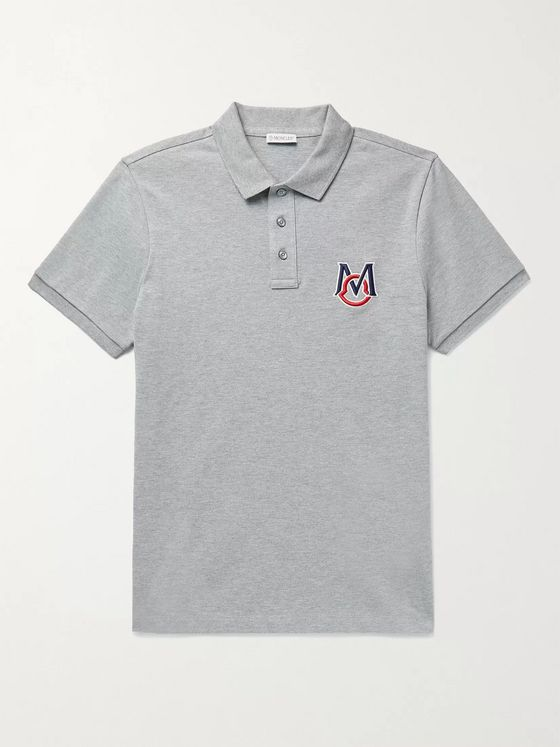 MONCLER Slim-Fit Logo-Embroidered Melangé Cotton-Piqué Polo Shirt