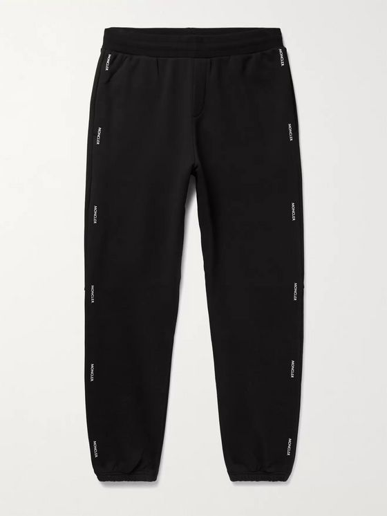 MONCLER Tapered Logo-Print Loopback Cotton-Jersey Sweatpants