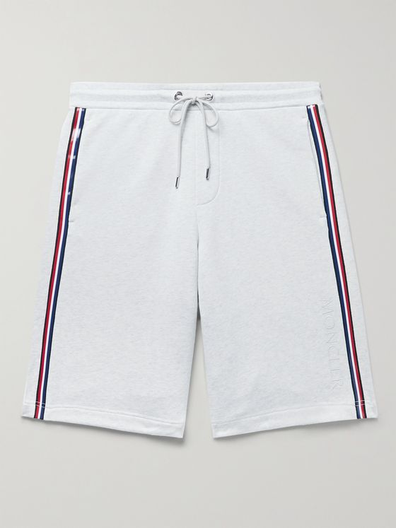 MONCLER Printed Mélange Loopback Cotton-Jersey Drawstring Shorts