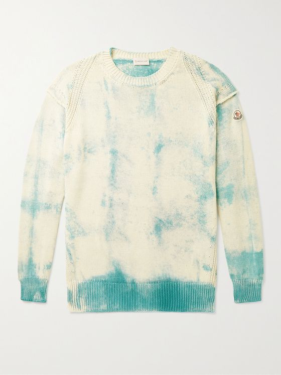 MONCLER Logo-Appliquéd Tie-Dyed Cotton Sweater