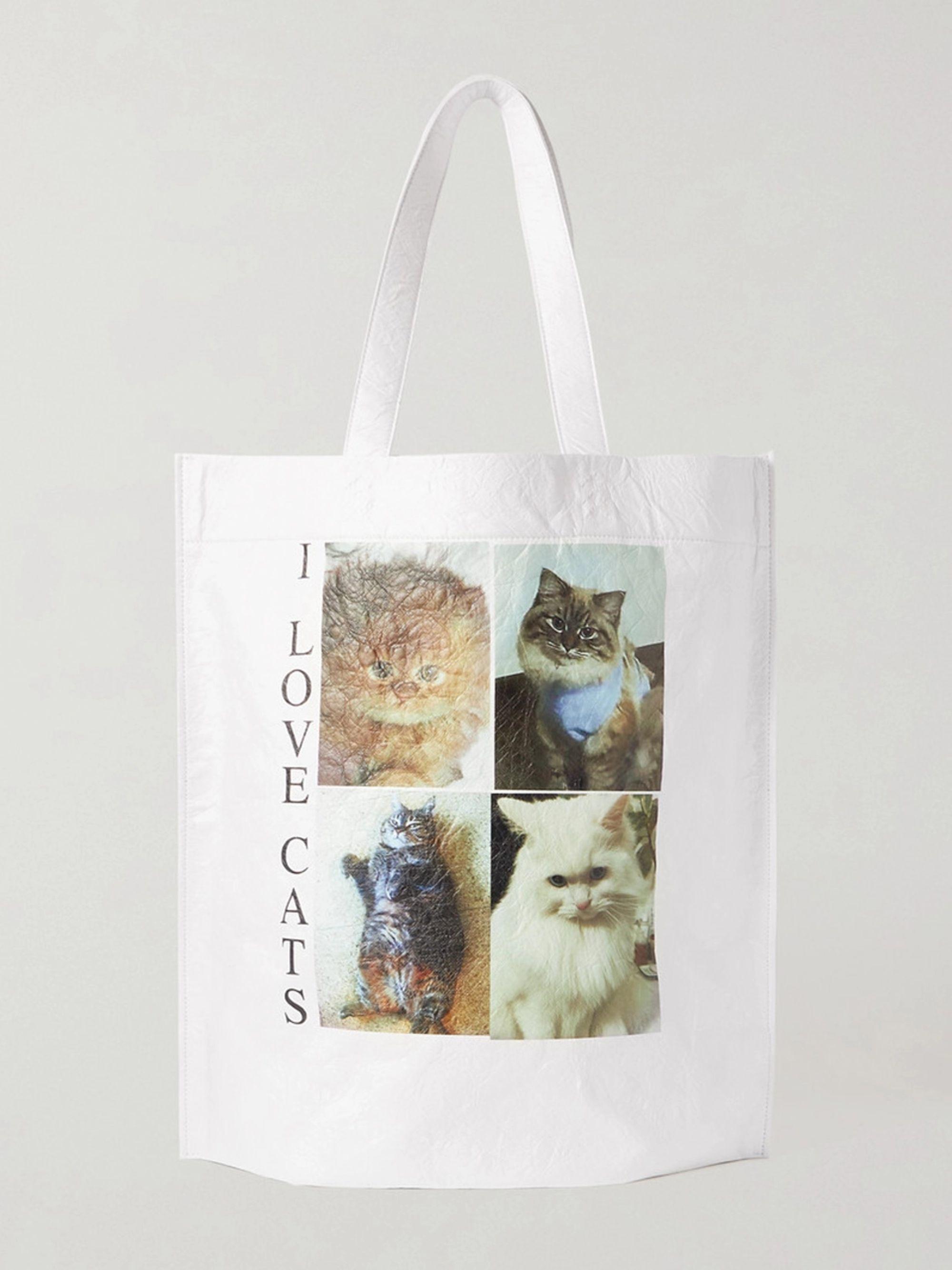 발렌시아가 Balenciaga Printed Creased-Leather Tote Bag,White