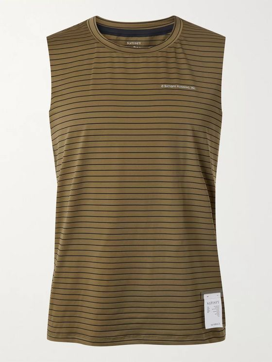 Satisfy Logo-Print Striped Stretch-Jersey Running Tank Top