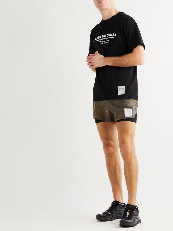 Satisfy Layered Tie-Dyed Ripstop and Justice Trail Running Shorts