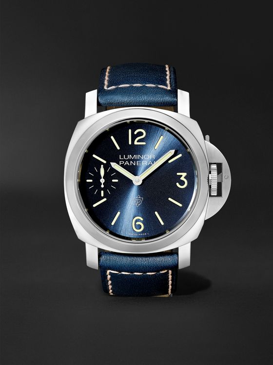 Panerai Luminor Blu Mare Hand-Wound 44mm Stainless Steel and Leather Watch, Ref. No. PAM1085