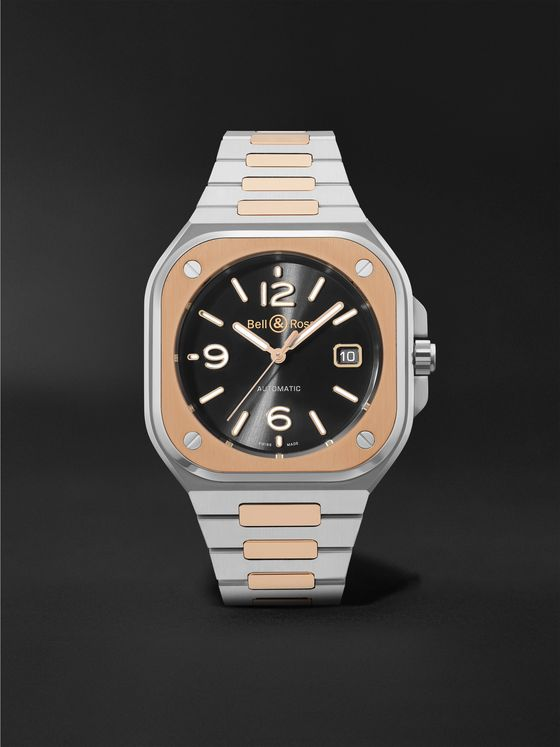 BELL & ROSS BR 05 Black Steel and Gold Automatic 40mm 18-Karat Rose Gold and Steel Watch, Ref. No. BR05A-BL-STPG/SSG
