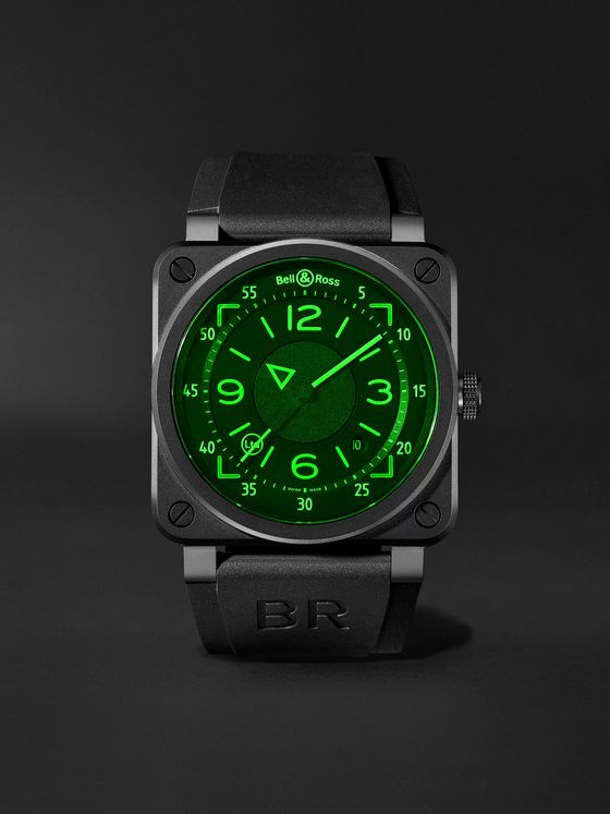 Bell & Ross BR 03-92 Limited Edition Automatic 42mm Ceramic and Rubber Watch, Ref. No. BR0392-HUD-CE/SRB