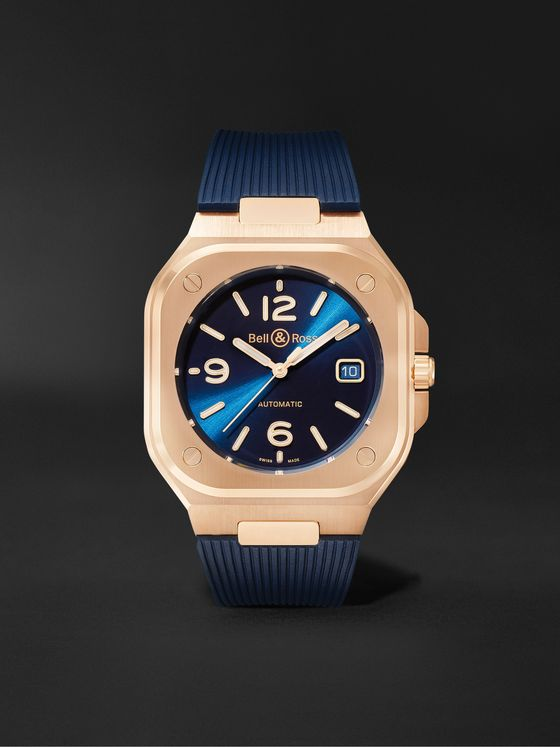 BELL & ROSS BR 05 Blue Gold Automatic 40mm 18-Karat Rose Gold and Rubber Watch, Ref. No. BR05A-BLU-PG/SRB