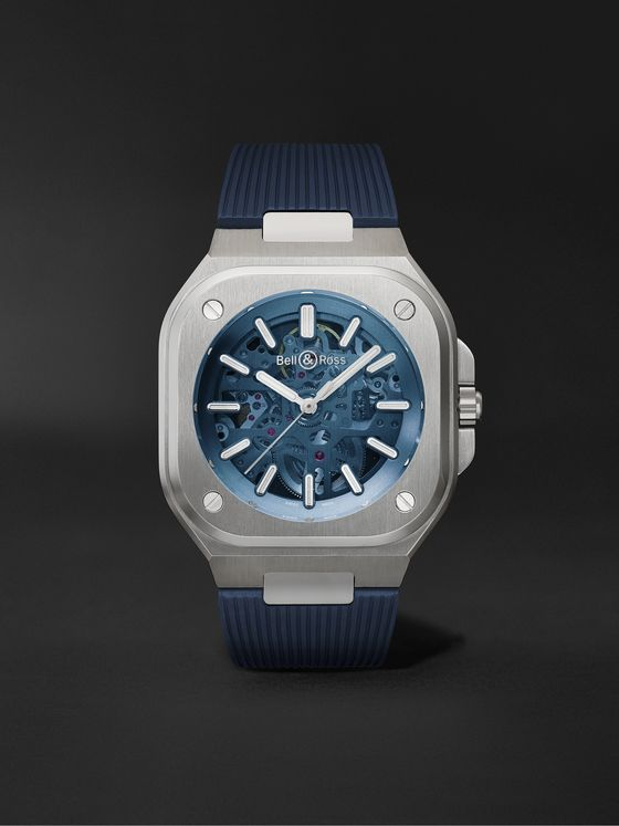 Bell & Ross BR 05 Limited Edition Automatic Skeleton 40mm Stainless Steel and Rubber Watch, Ref. No. BR05A-BLU-SKST/SRB
