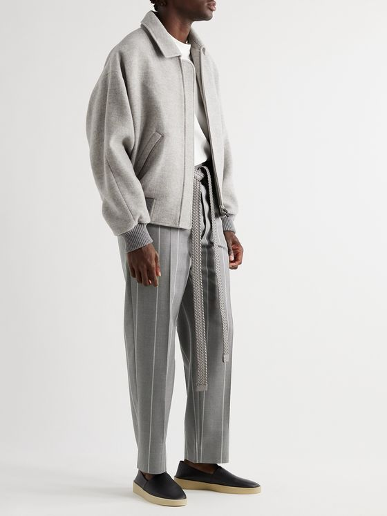 Fear of God for Ermenegildo Zegna Tapered Pleated Striped Mélange Wool-Twill Trousers