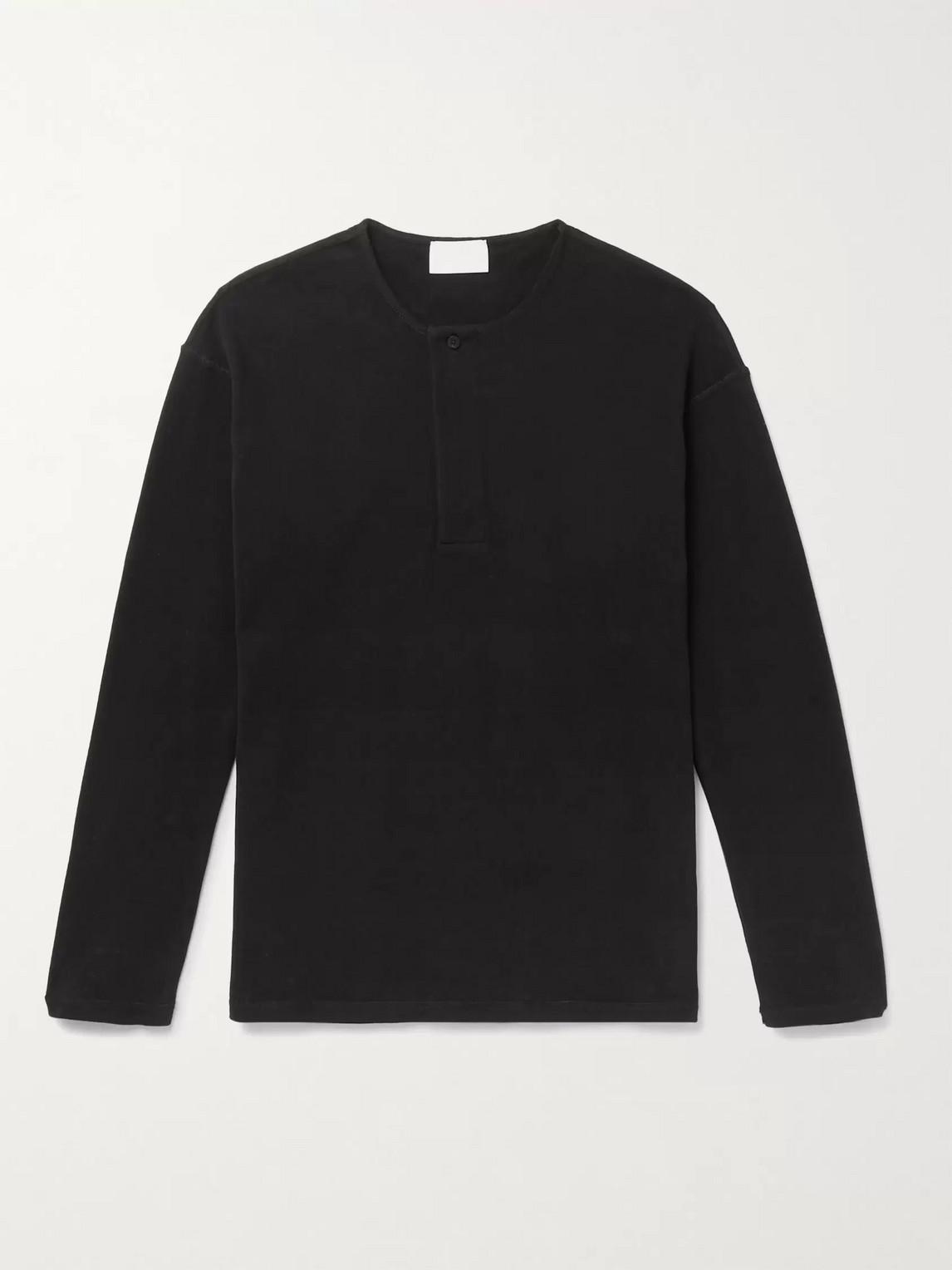 Fear Of God For Ermenegildo Zegna Cotton-jersey Henley T-shirt In Black