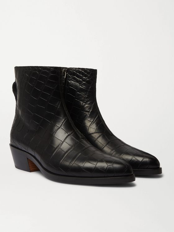 Fear of God for Ermenegildo Zegna Croc-Effect Leather Chelsea Boots