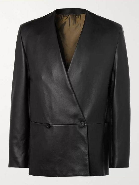Fear of God for Ermenegildo Zegna Slim-Fit Double-Breasted Leather Jacket