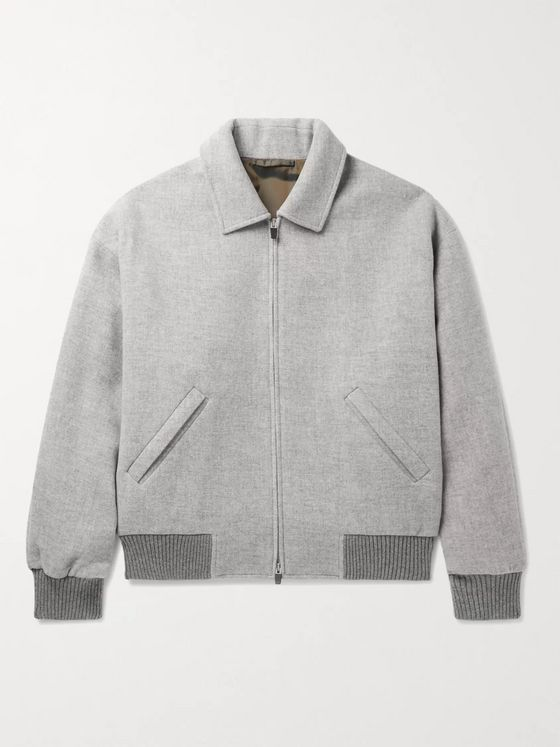 Fear of God for Ermenegildo Zegna Logo-Appliquéd Wool Bomber Jacket