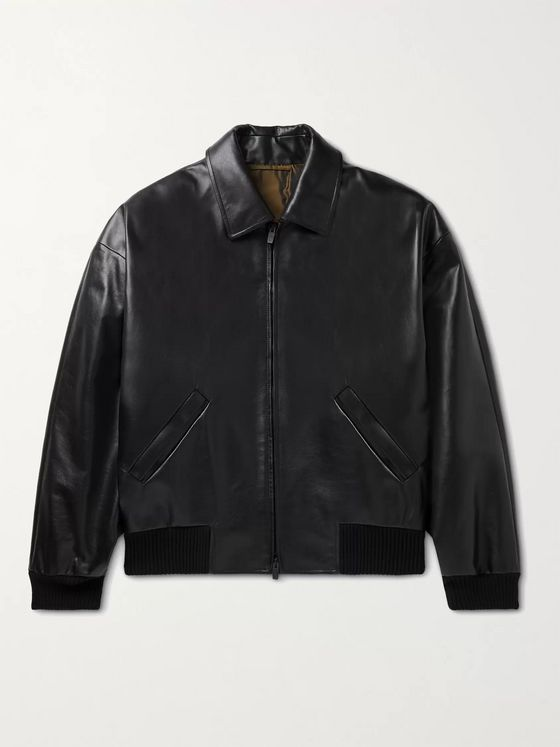 Fear of God for Ermenegildo Zegna Logo-Embossed Leather Bomber Jacket