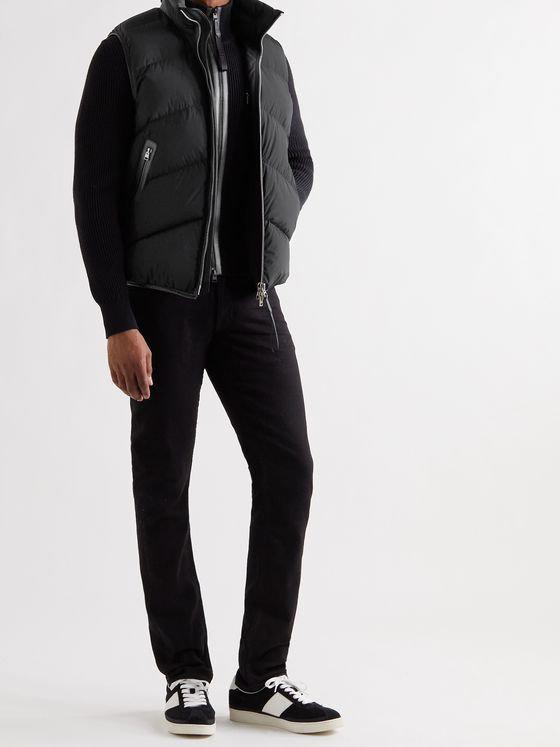 TOM FORD Leather-Trimmed Quilted Shell Down Gilet