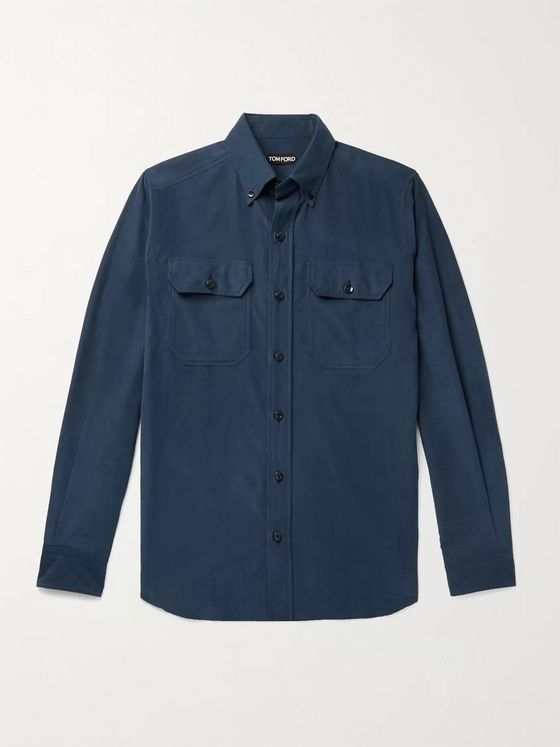 TOM FORD Slim-Fit Button-Down Collar Cotton-Needlecord Shirt