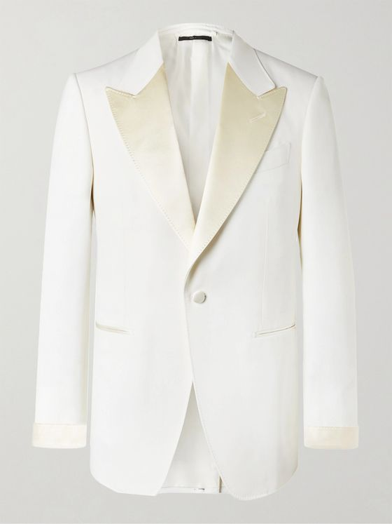 TOM FORD Slim-Fit Satin-Trimmed Wool and Mohair-Blend Tuxedo Jacket