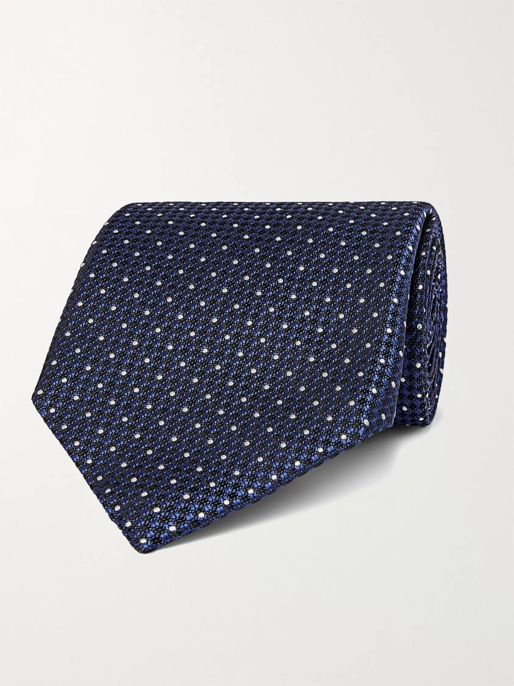 탐 포드 Tom Ford 8cm Pin-Dot Textured-Silk Tie,Navy