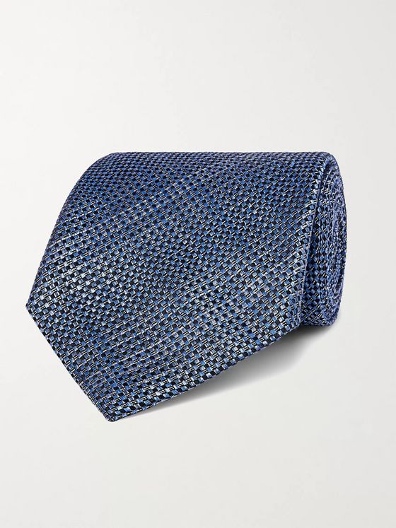 TOM FORD 8cm Checked Textured-Silk Tie