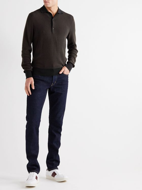 TOM FORD Slim-Fit Cotton and Silk-Blend Polo Shirt