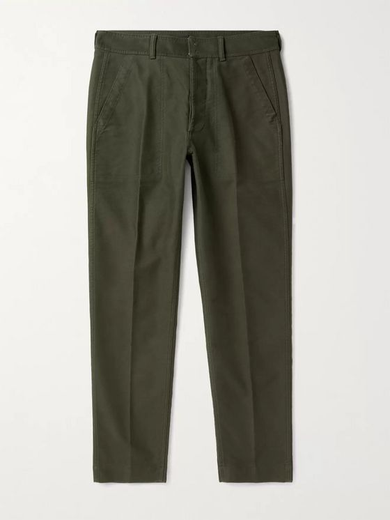 TOM FORD Slim-Fit Brushed-Cotton Trousers