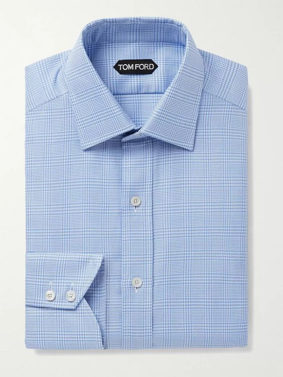 TOM FORD Slim-Fit Prince of Wales Checked Cotton Shirt