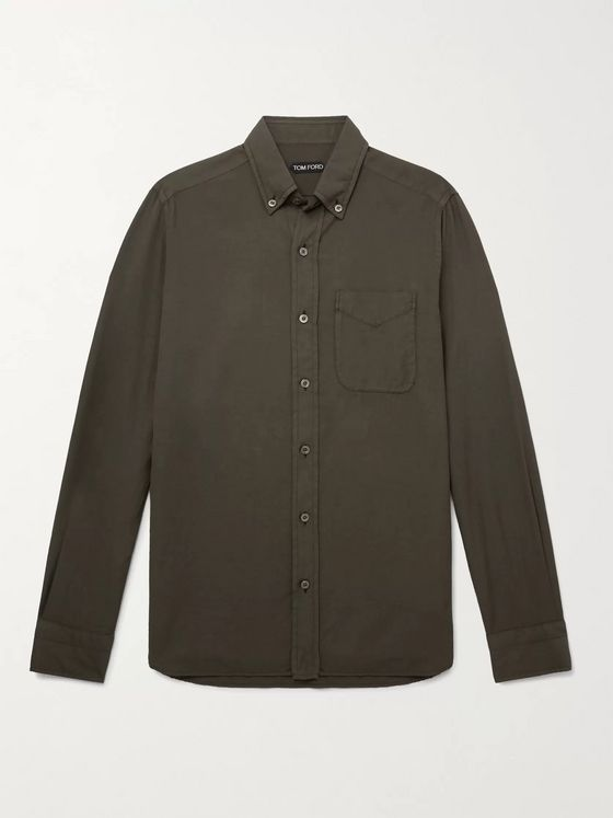 TOM FORD Button-Down Collar Cotton and Cashmere-Blend Shirt