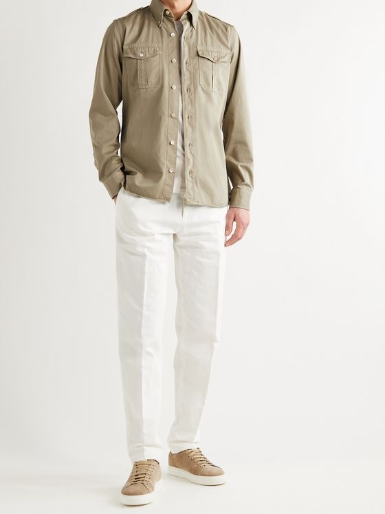 TOM FORD Slim-Fit Button-Down Collar Cotton-Sateen Shirt