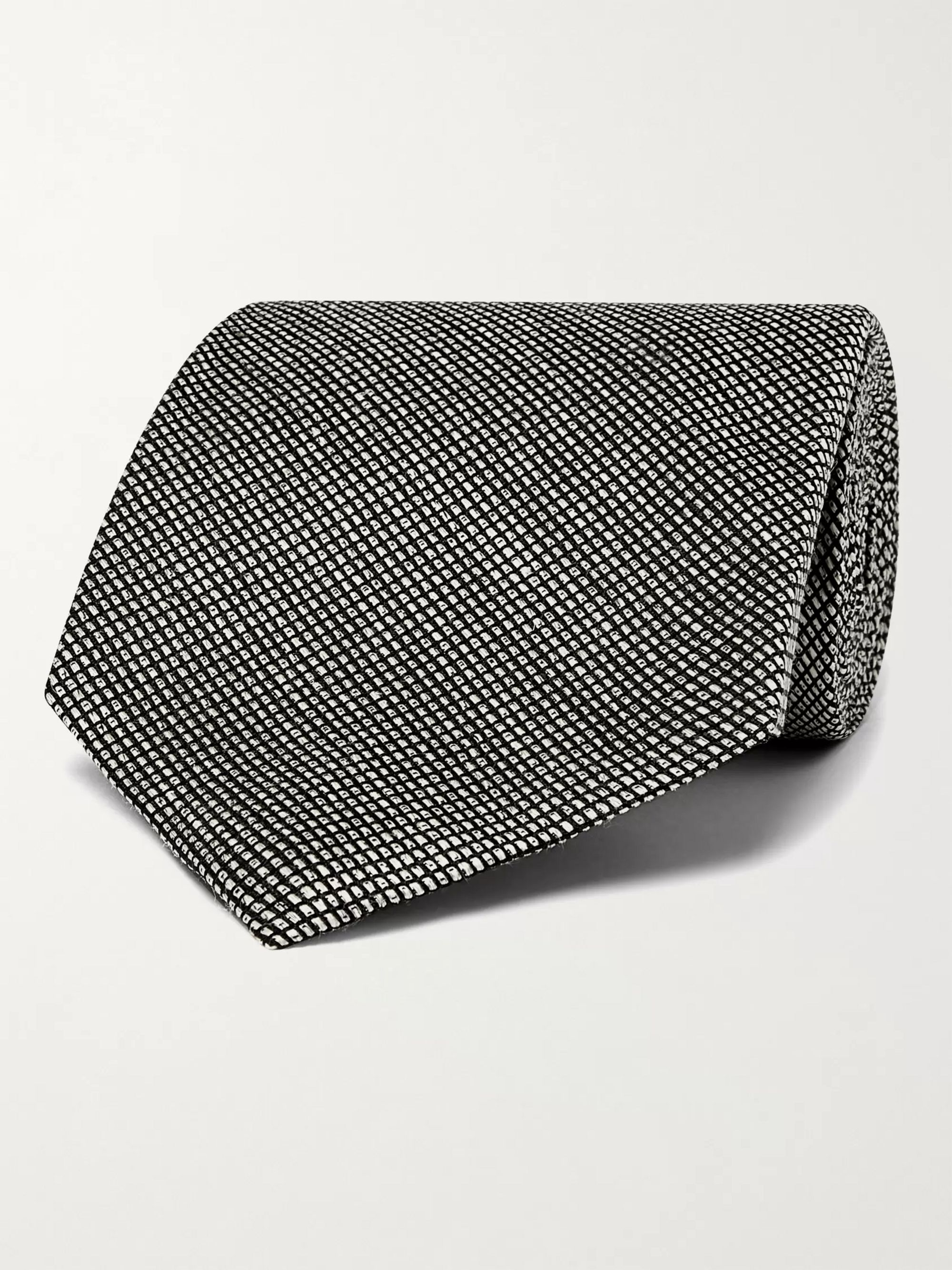 탐 포드 Tom Ford 8cm Checked Silk and Linen-Blend Tie,Gray