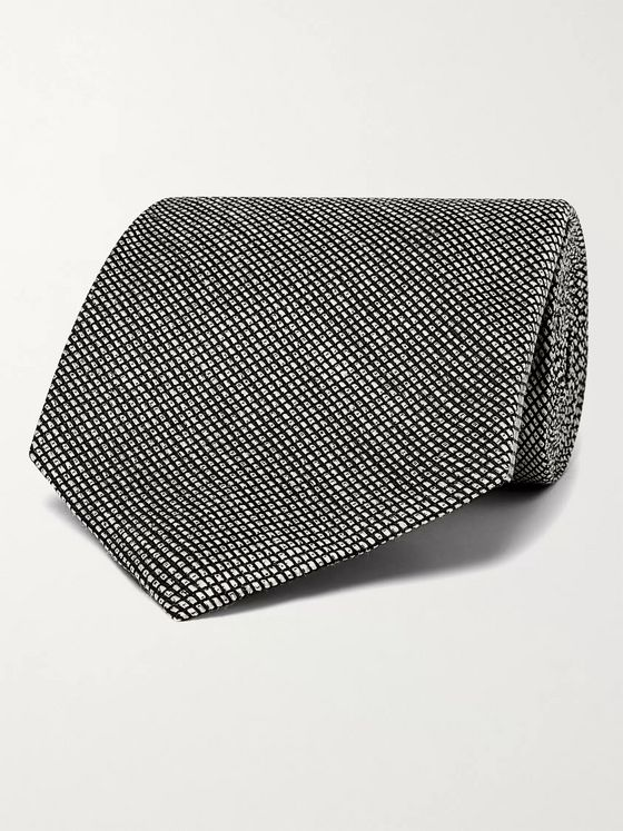 TOM FORD 8cm Checked Silk and Linen-Blend Tie
