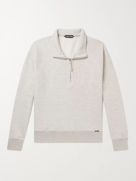 TOM FORD Garment-Dyed Cotton-Jersey Half-Zip Sweatshirt