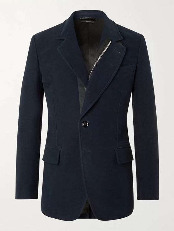 TOM FORD Leather-Trimmed Cotton-Moleskin Blazer