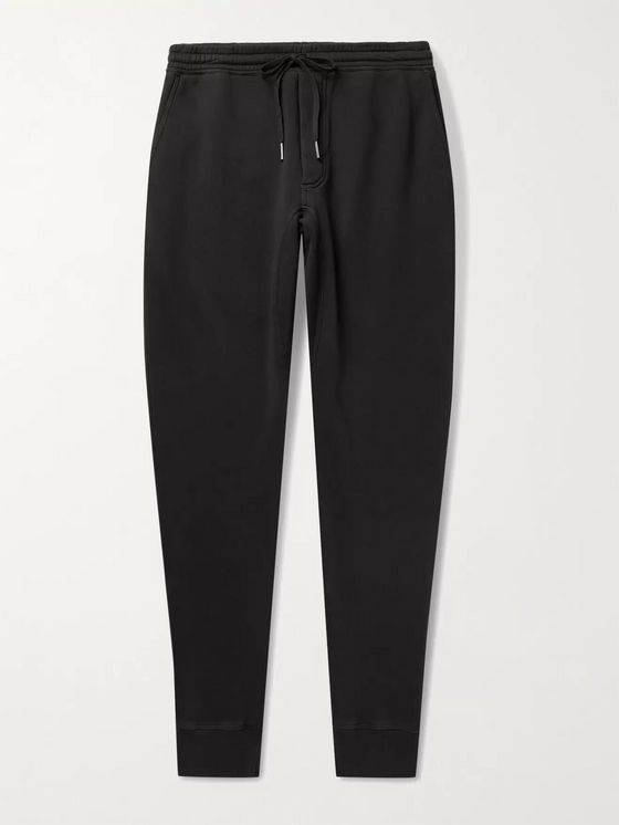 TOM FORD Tapered Garment-Dyed Fleece-Back Cotton-Jersey Sweatpants